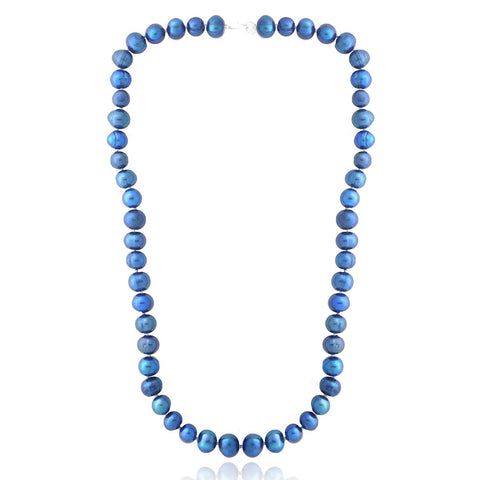 Coloured Freshwater Pearl Necklace - Dark Blue