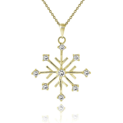 Cubic Zirconia Accented Snowflake Pendant - 18K Gold Overlay