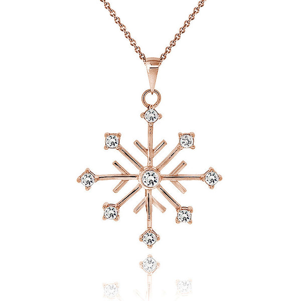 Cubic Zirconia Accented Snowflake Pendant - Rose Gold Overlay