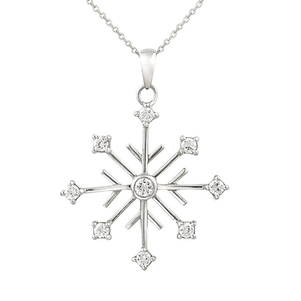 Cubic Zirconia Accented Snowflake Pendant - Sterling Silver