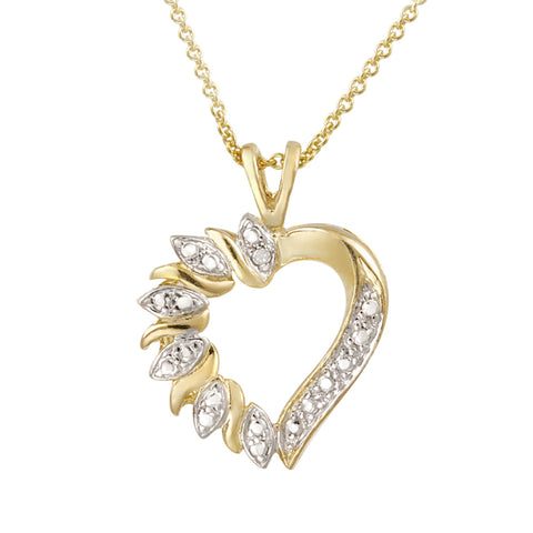 Heart Necklace With Diamond Accents - 18k Gold Over Silver