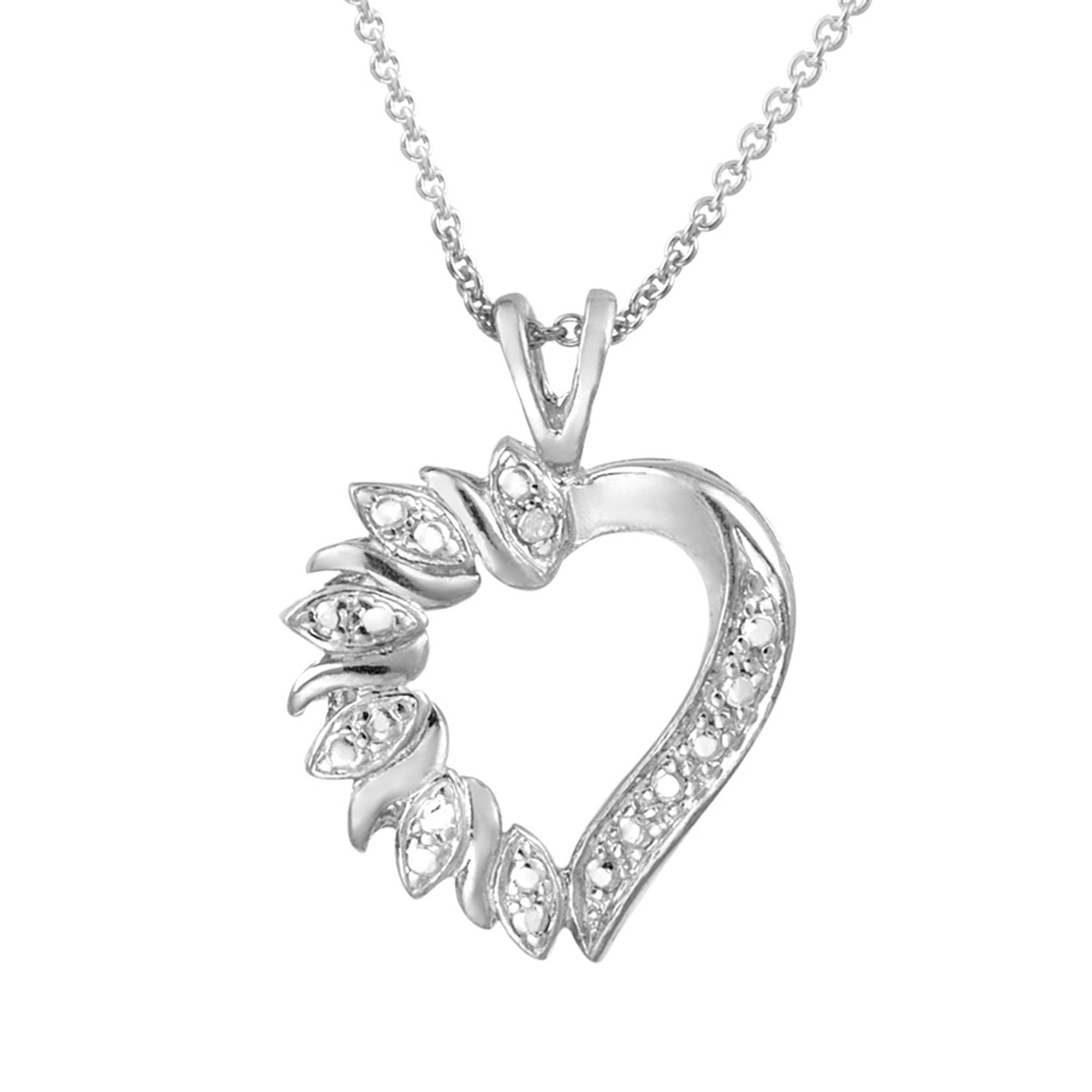 Heart Necklace With Diamond Accents - Sterling Silver