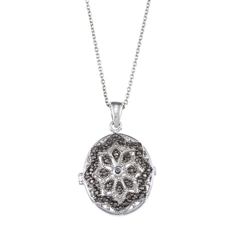 Oval Locket Necklace With Diamond Accents - Black