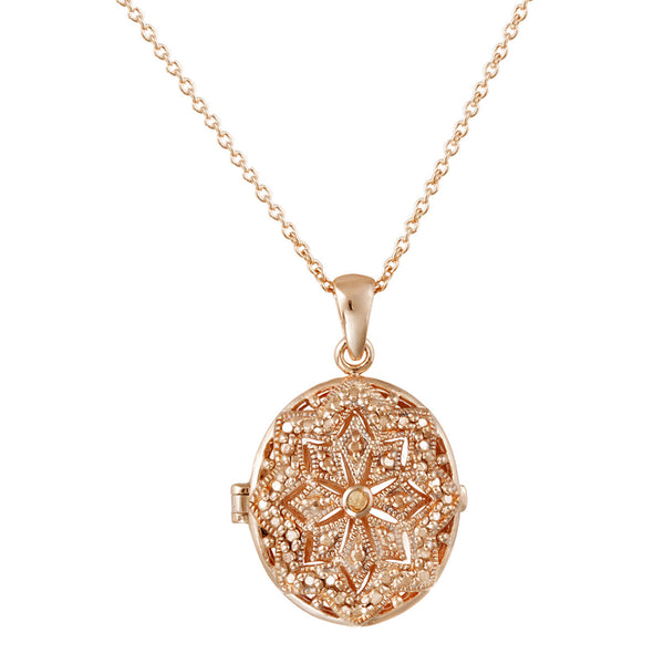 Oval Locket Necklace With Diamond Accents - Rose