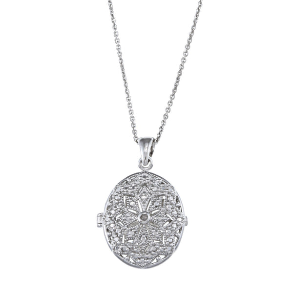 Oval Locket Necklace With Diamond Accents - White