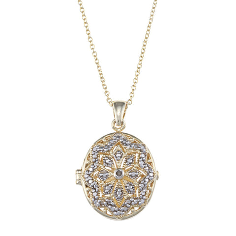 Oval Locket Necklace With Diamond Accents - Yellow