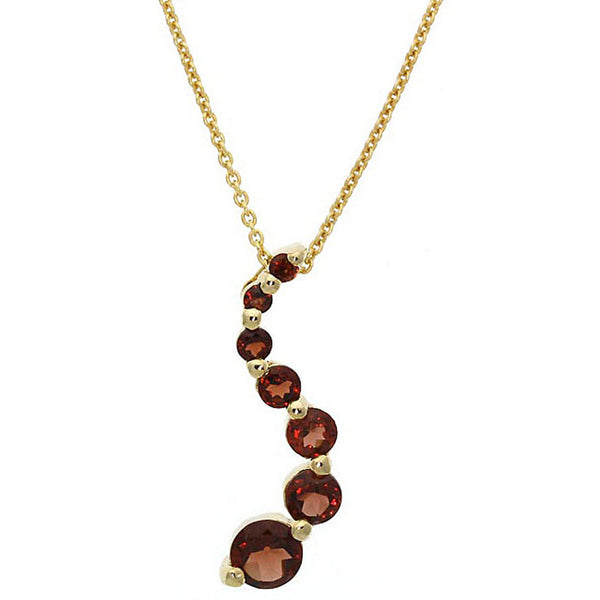 Gemstone 18 Inch Cable Chained Journey Necklace - 18k Gold / Garnet