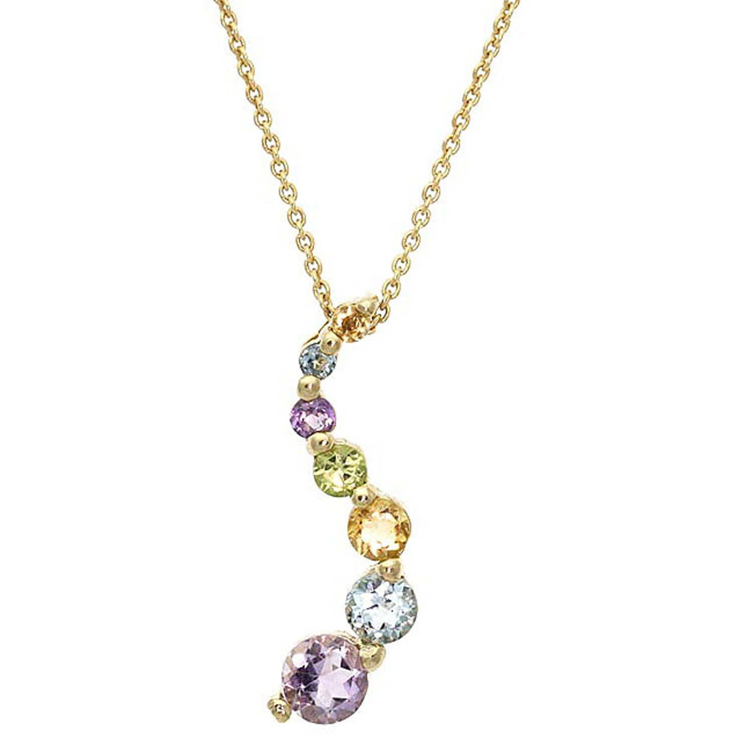 Gemstone 18 Inch Cable Chained Journey Necklace - 18k Gold / Multi