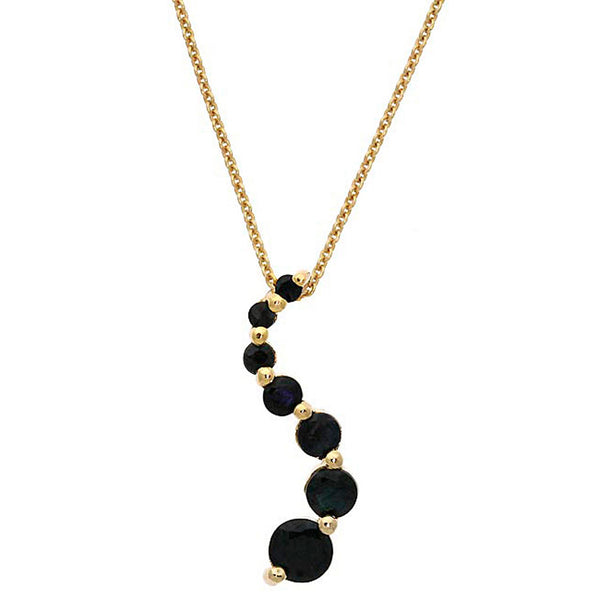 Gemstone 18 Inch Cable Chained Journey Necklace - 18k Gold / Sapphire