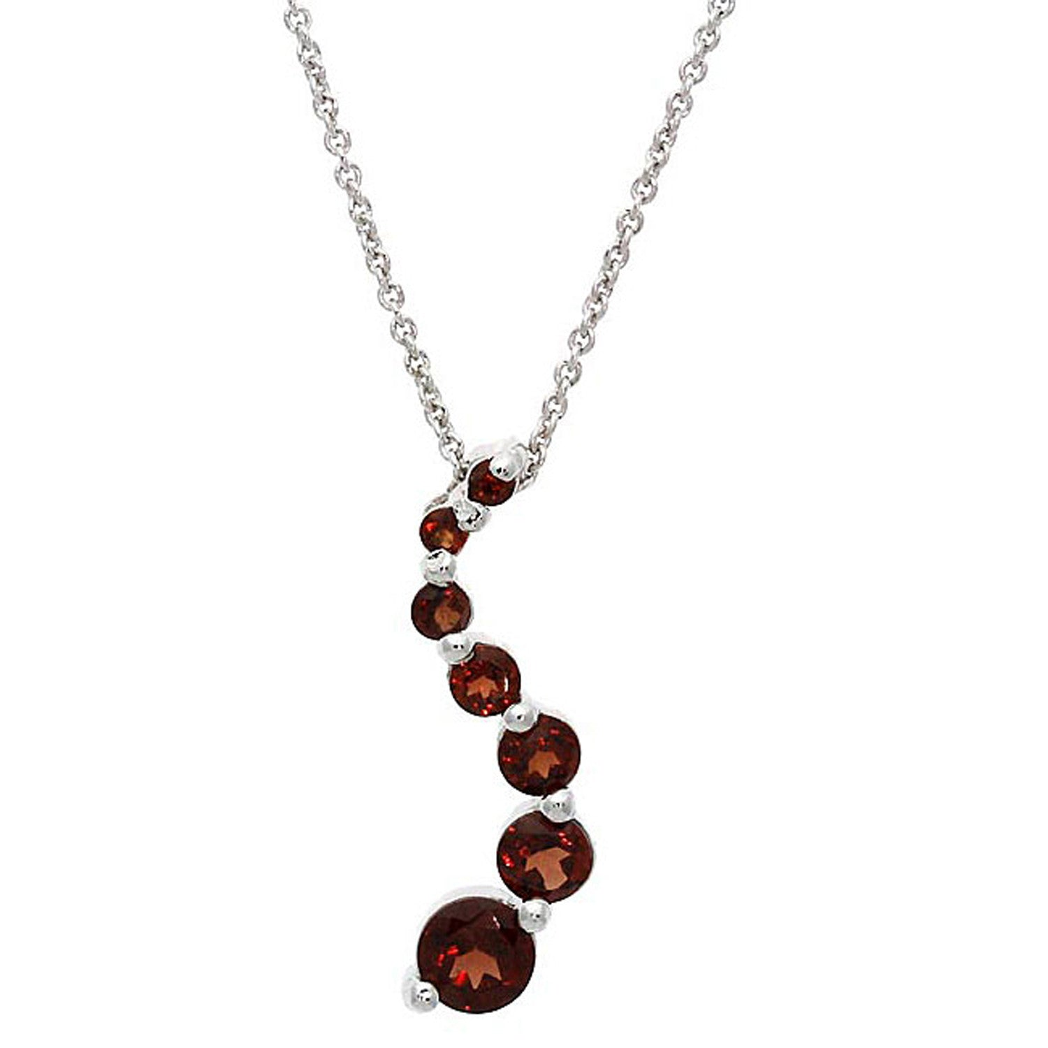 Gemstone 18 Inch Cable Chained Journey Necklace - Silver / Garnet