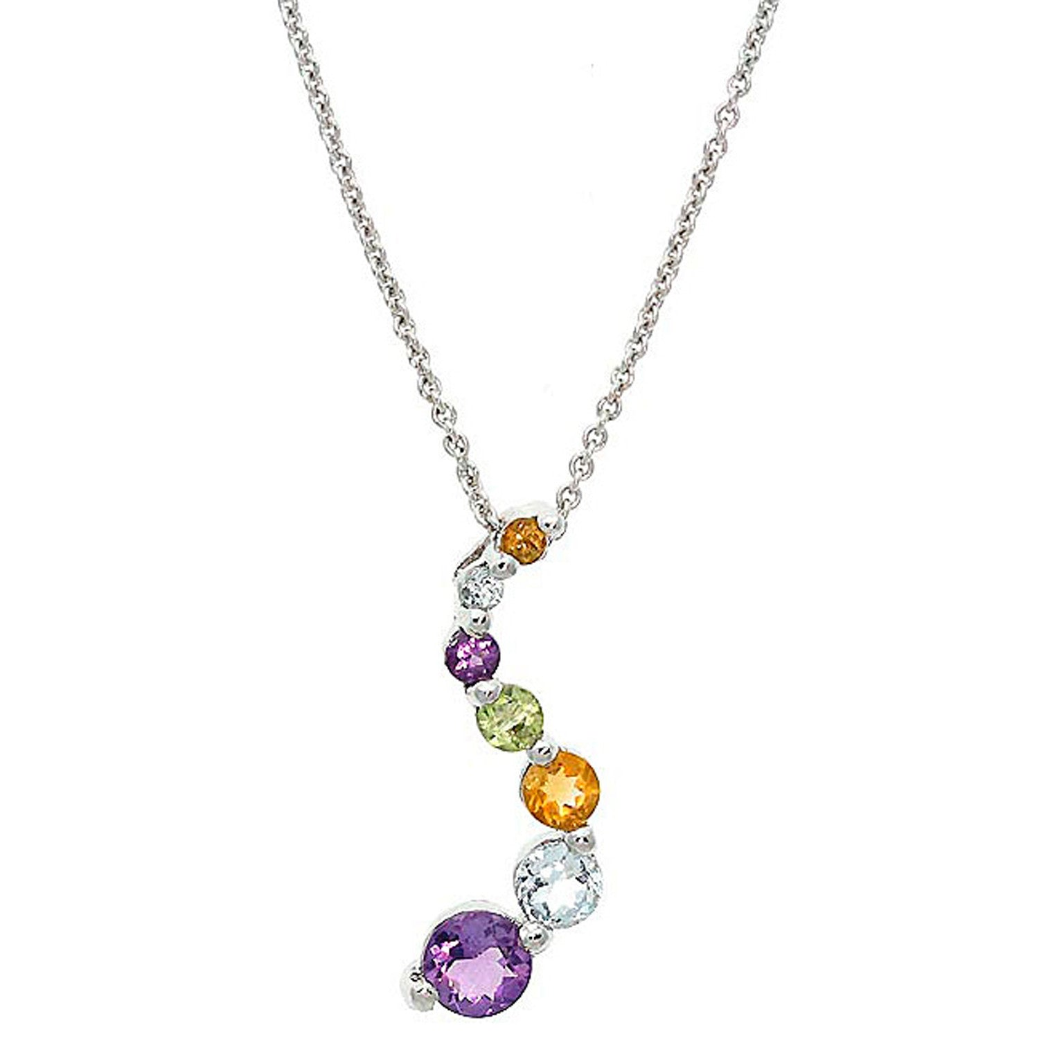 Gemstone 18 Inch Cable Chained Journey Necklace - Silver / Multi