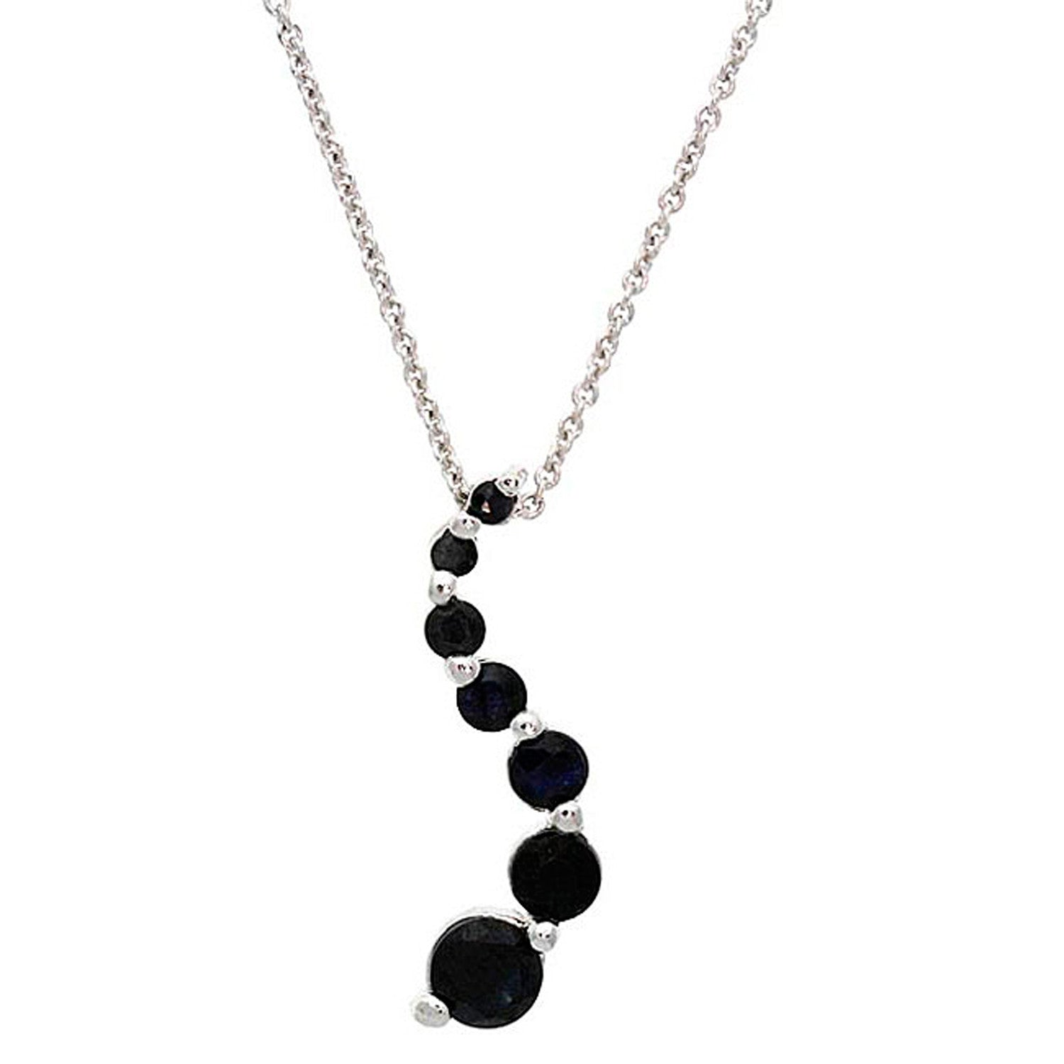 Gemstone 18 Inch Cable Chained Journey Necklace - Silver / Sapphire