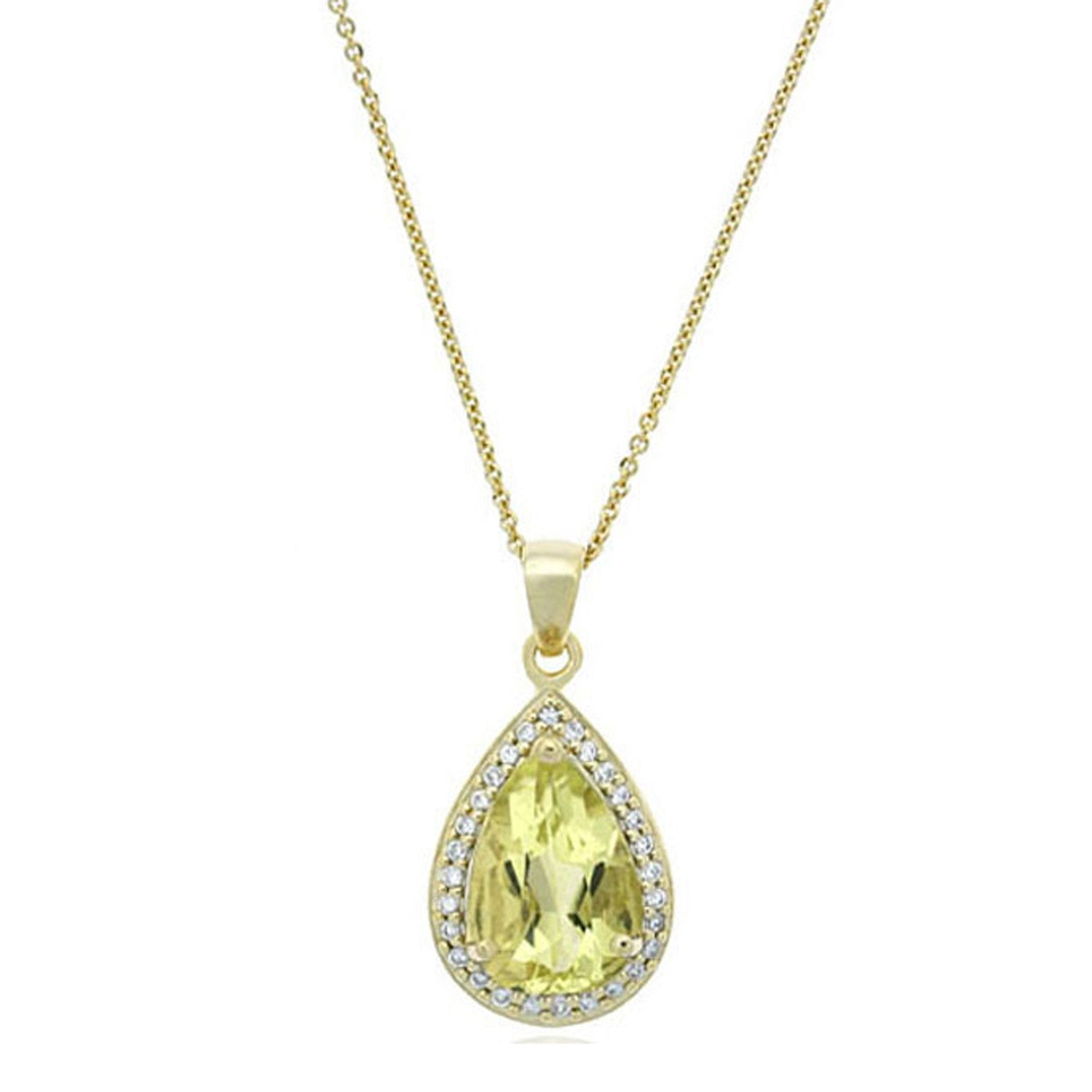 Teardrop Necklace With Cubic Zirconia & Gemstone Accents - 18k Gold / Lime Quartz
