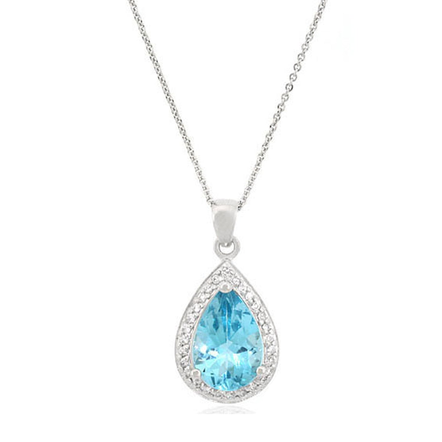Teardrop Necklace With Cubic Zirconia & Gemstone Accents - Silver / Blue Topaz
