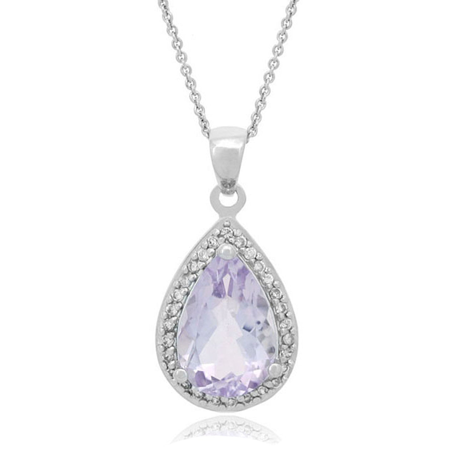 Teardrop Necklace With Cubic Zirconia & Gemstone Accents - Silver / Rose De France