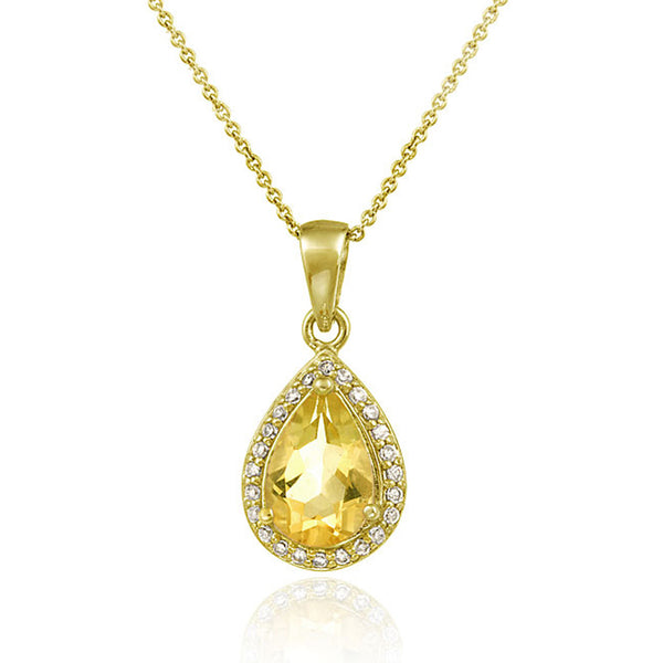 Gemstone & Cubic Zirconia Accented Teardrop Necklace - 18K Gold / Citrine