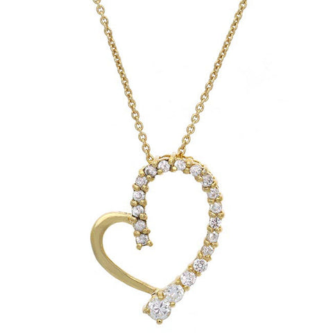 18k Gold Over Silver Heart Pendant With Cubic Zirconia Accents