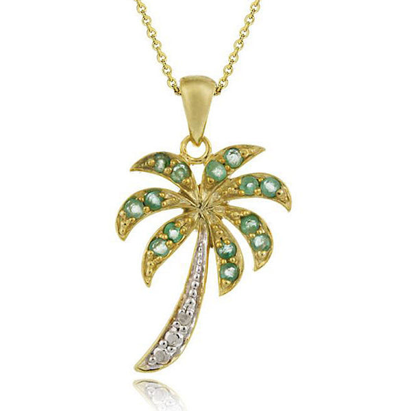 18K Gold Over Silver Emerald Palm Tree Necklace With Diamond Accents