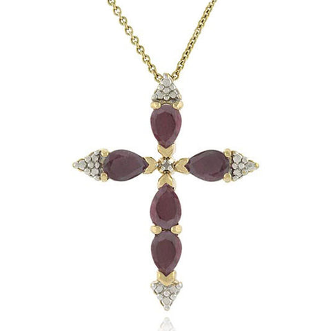 18k Gold Over Silver Ruby Cross Pendant With Diamond Accents