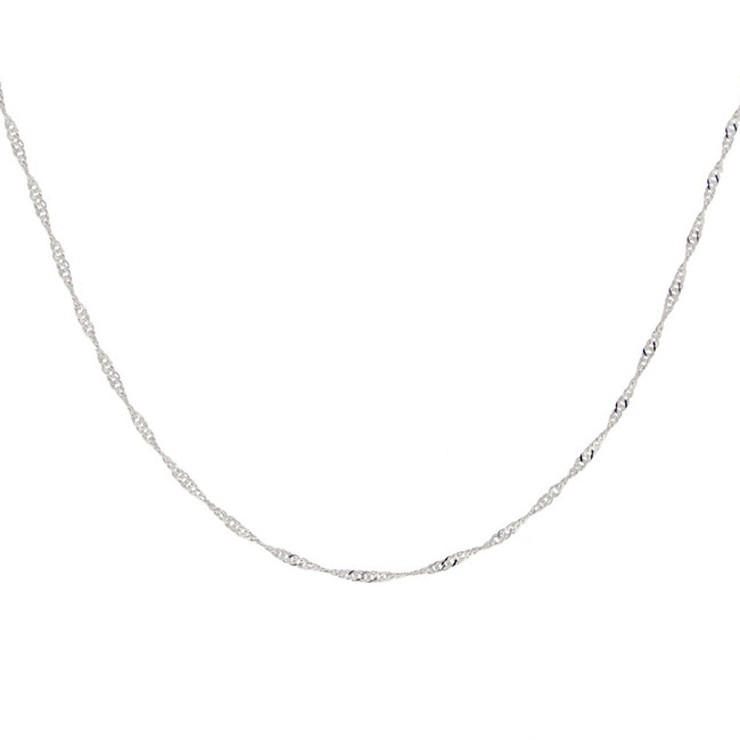 Sterling Silver Italian Chain With Singapore Design Necklace - 24 Inches