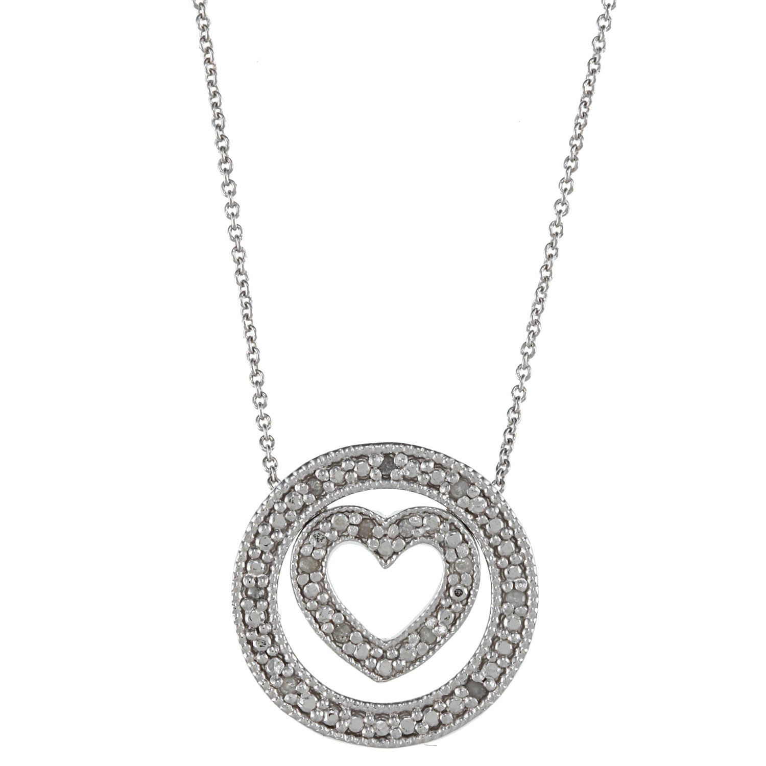 1/8 Carat Diamond Sterling Silver 3 in 1 Circle Heart Necklace