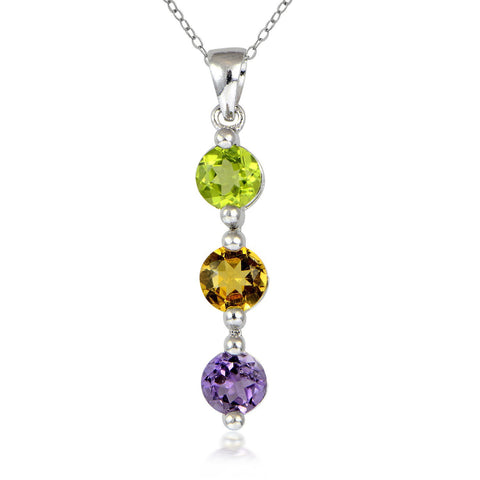 3 Stone Gemstone Sterling Silver Necklace