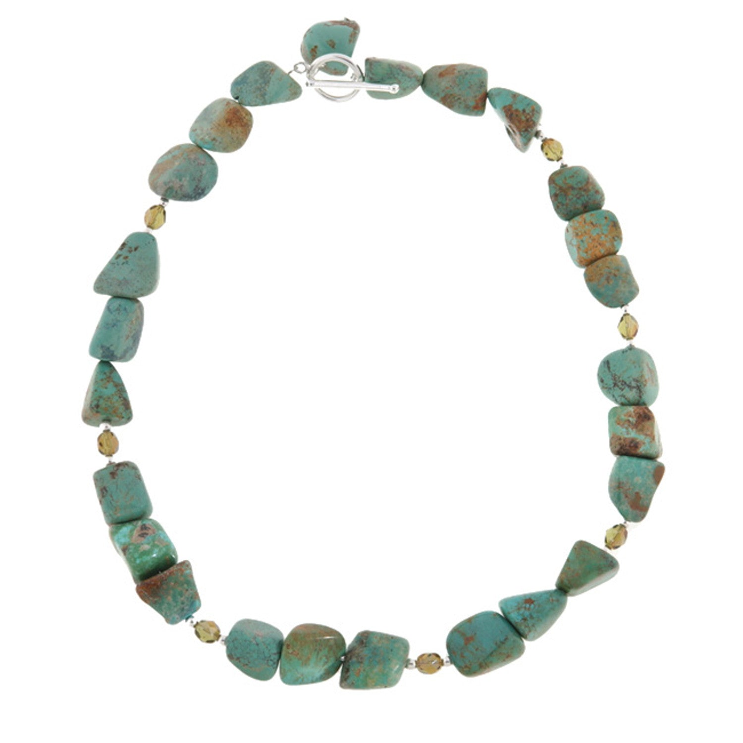 Sterling Silver Diamond Cut Beaded Necklace - Turquoise