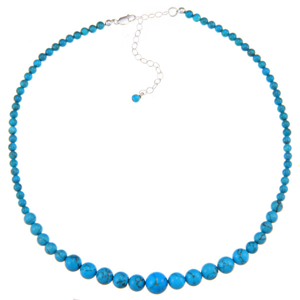 Sterling Silver 16 Inch Beaded Necklace - Turquoise