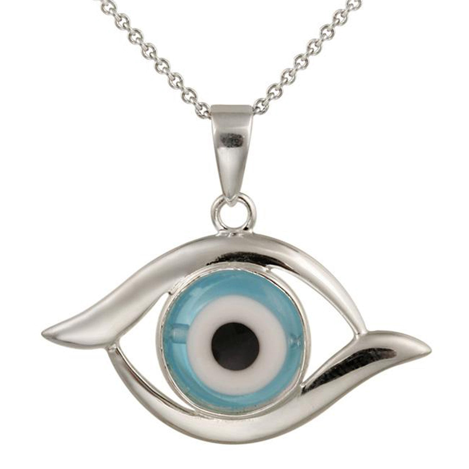 Evil Eye Blue Glass Sterling Silver Necklace