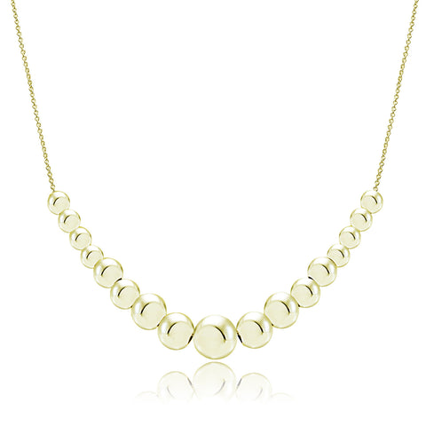 Beaded Sterling Silver Necklace - Gold Over Silver