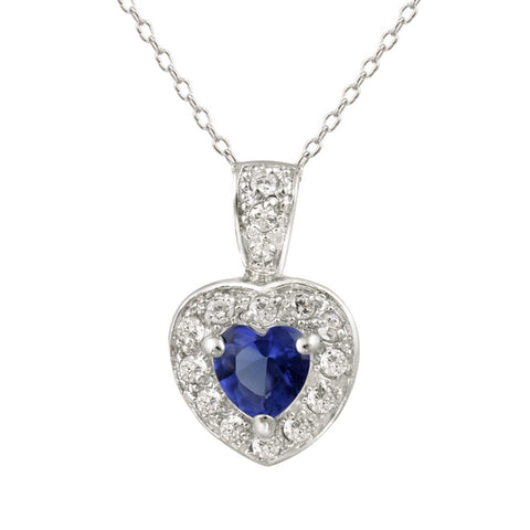 Blue Cubic Zirconia Heart Pendant in Sterling Silver