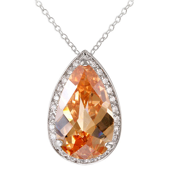 Champagne Cubic Zirconia Teardrop Necklace in Sterling Silver