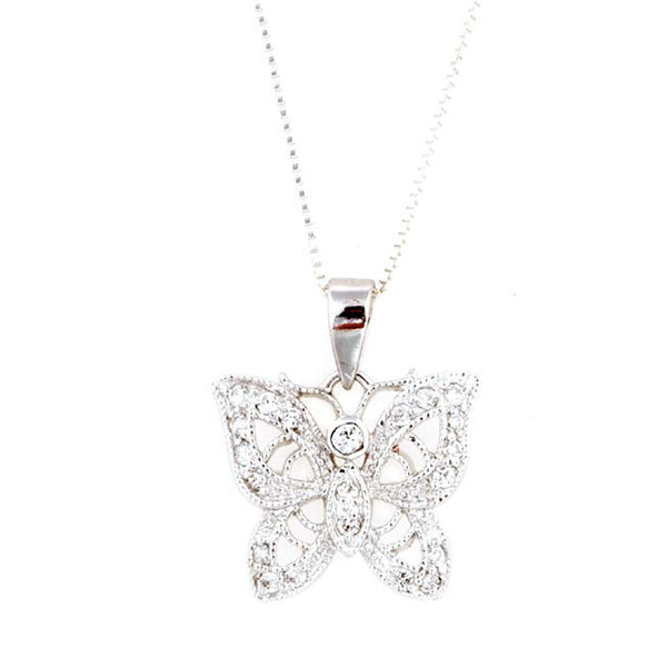 Sterling Silver Filigree Butterfly Pendant With Cubic Zirconia Accents