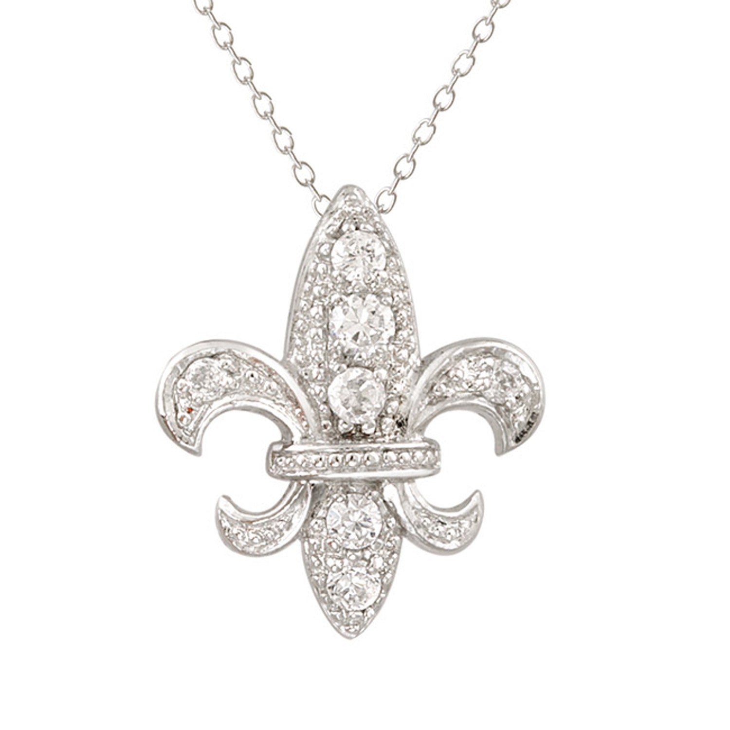 Cubic Zirconia Accent Sterling Silver Fleur de Lis Necklace