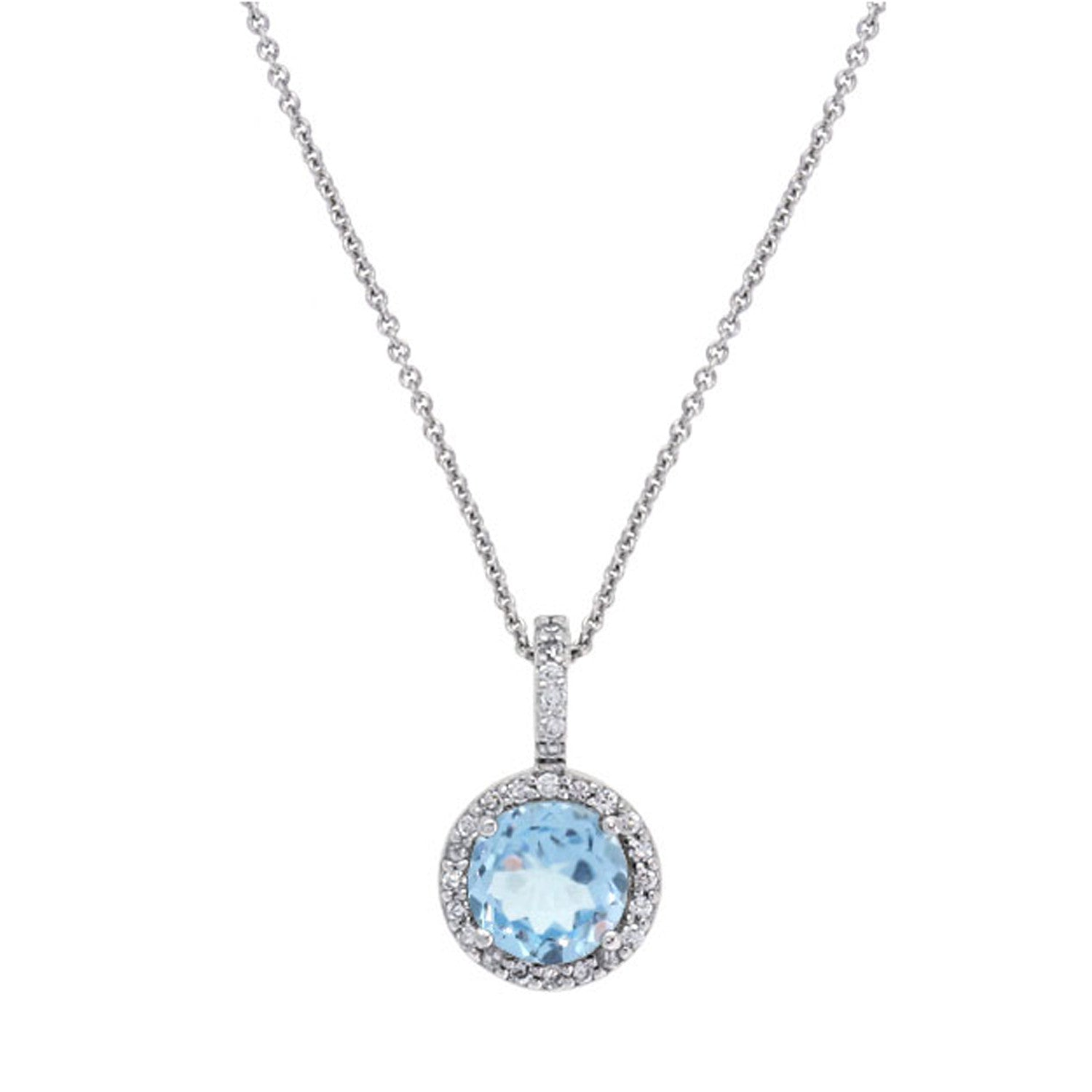 Cubic Zirconia Accented Blue Topaz Sterling Silver Necklace