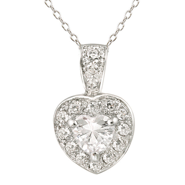 Cubic Zirconia Accented Sterling Silver Heart Pendant