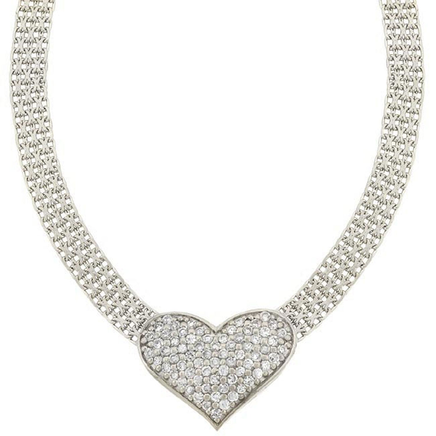 Heart Mesh Sterling Silver Necklace With Cubic Zirconia Accents