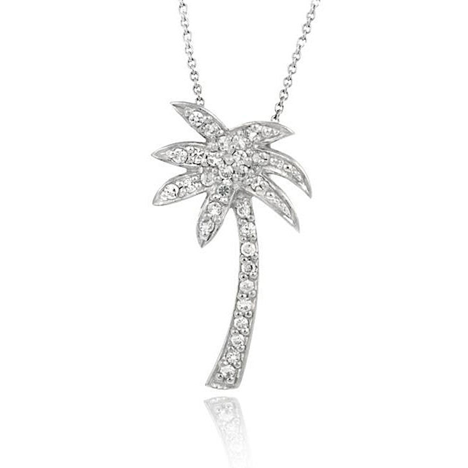 Cubic Zirconia Palm Tree Necklace in Sterling Silver