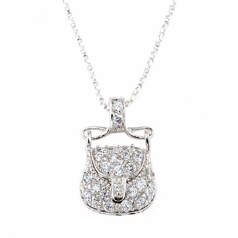 Cubic Zirconia Accented Sterling Silver Purse Pendant