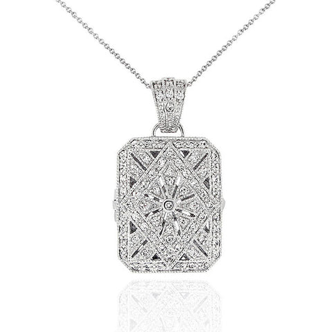 Sterling Silver Rectanglular Locket Necklace With Cubic Zirconia Accents