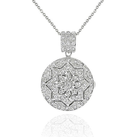 Cubic Zirconia Round Locket Necklace With Intricate Star Detail in Sterling Silver