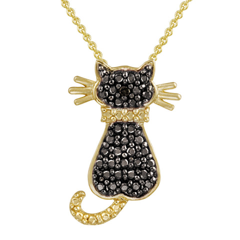Diamond Accented Sterling Silver Cat Pendant - Gold / Black