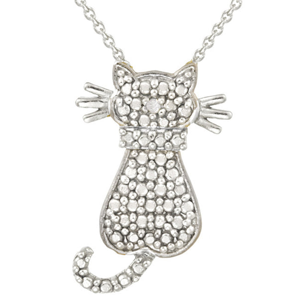 Diamond Accented Sterling Silver Cat Pendant - Sterling Silver