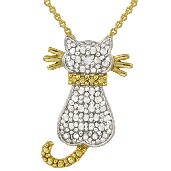 Diamond Accented Sterling Silver Cat Pendant - Two Tone