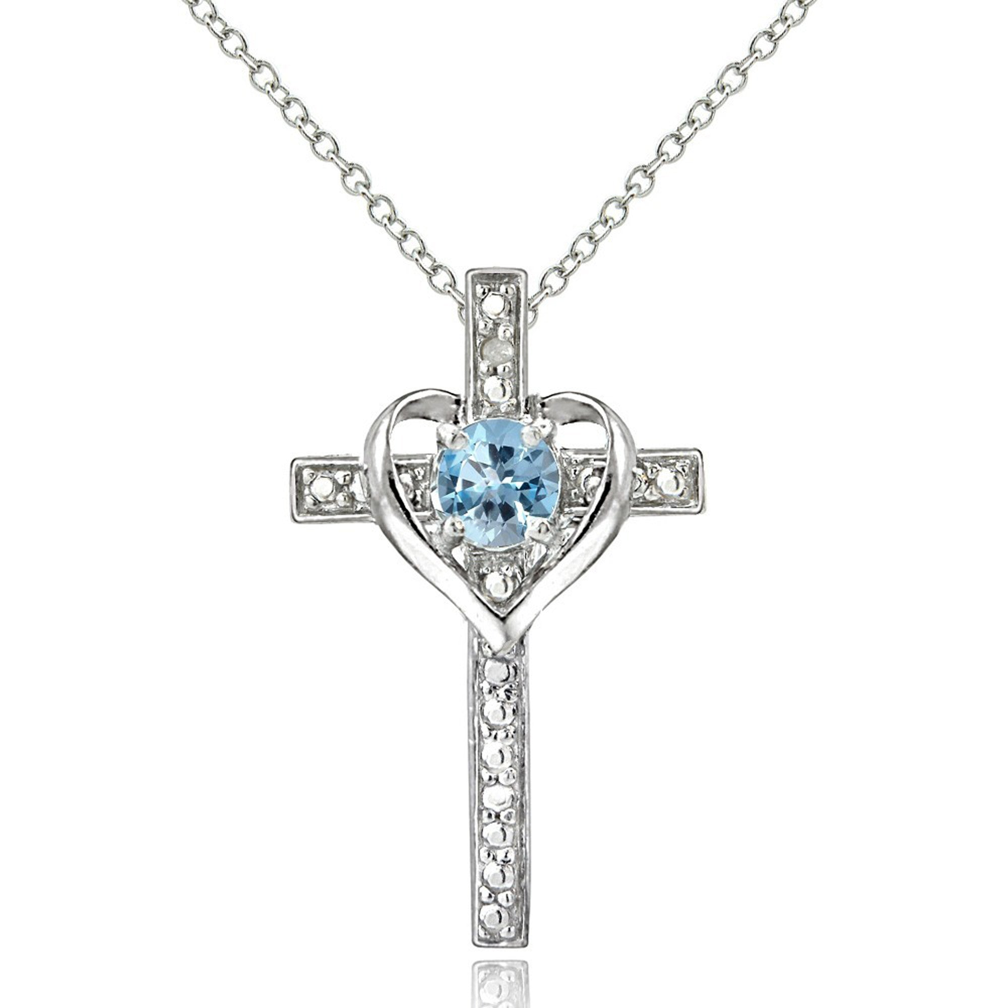 Diamond Accented Sterling Silver Cross Necklace - Blue Topaz