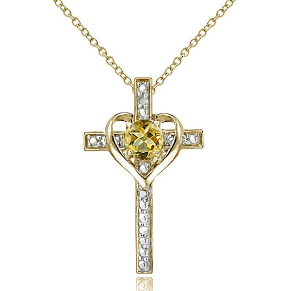 Diamond Accented Sterling Silver Cross Necklace - Gold Over Silver / Citrine