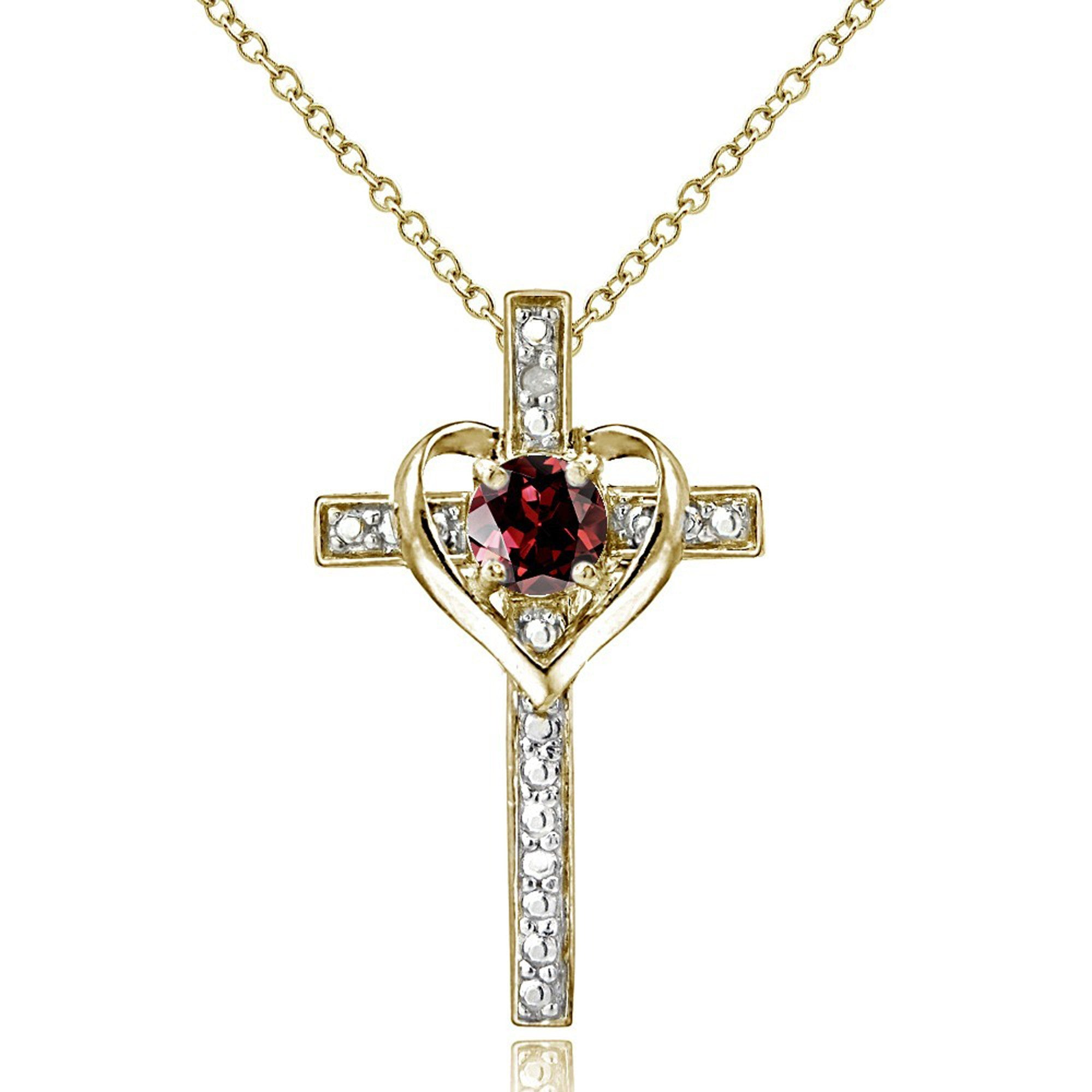 Diamond Accented Sterling Silver Cross Necklace - Gold Over Silver / Garnet