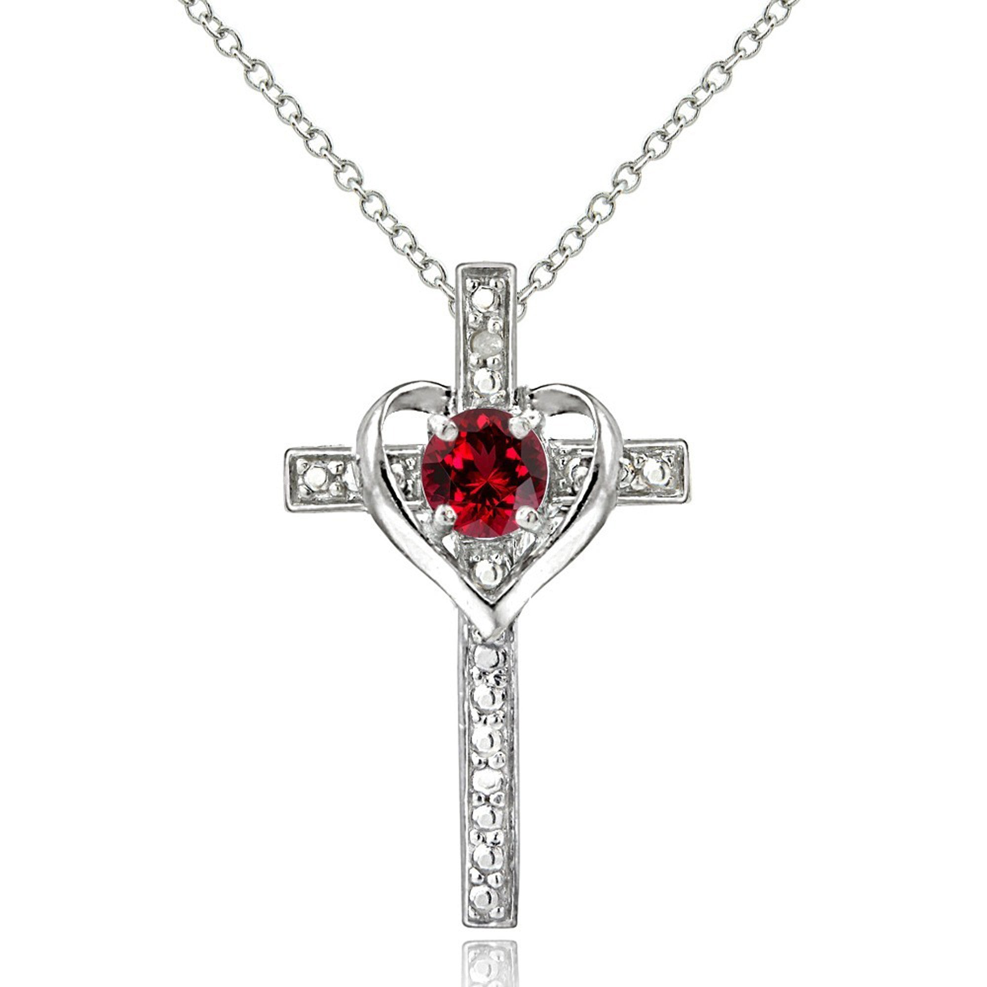 Diamond Accented Sterling Silver Cross Necklace - Created Ruby