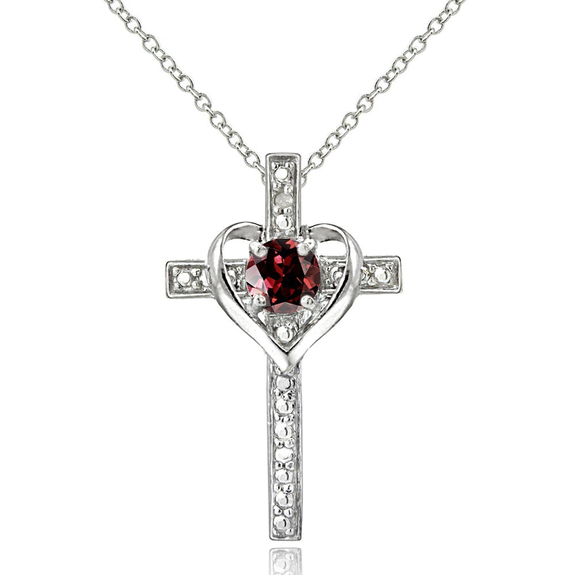 Diamond Accented Sterling Silver Cross Necklace - Silver / Garnet