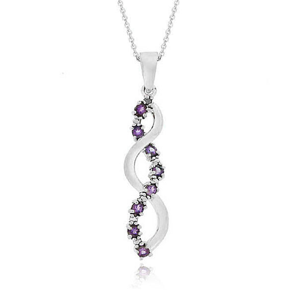 Amethyst Diamond Accented Sterling Silver Journey Pendant
